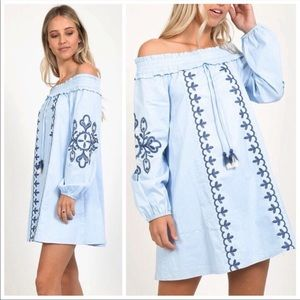 ENTICING Blue Embroidery Dress